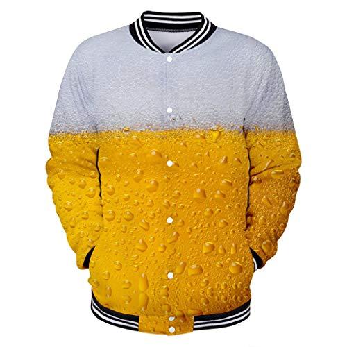 WooCo angeknöpften Enden Sweatshirts für Männer Baseball Sport Shirt, Herren Herbst Langarm Pullover Mantel Oktoberfest Jacke Tops 3D Bierdruck Sweatshirtjacke Große Größe(Orange a,XXXL)