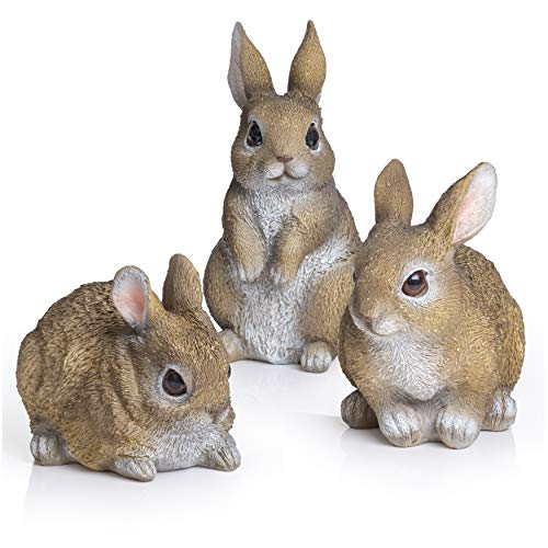 Besti Bunny Statue Yard Garden Decorations (3 Bunnies)   Cute Rabbits Look Great in Any Outdoor Living Space   Small Bunnies Can Also Be Used for Kitchen & Table Decor   2-7/8 x 4 x 4-1/4 Inches