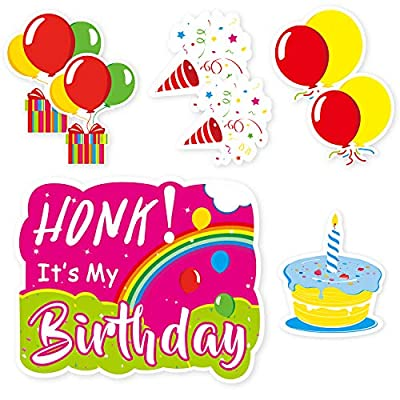Eaaglo Happy Birthday Yard Signs with Stakes Happy Birthday Lawn Signs for Yard Honk It's My Birthday Cupcake Balloons Signs Set Colorful Birthday Party Outdoor Decorations 8 Pack