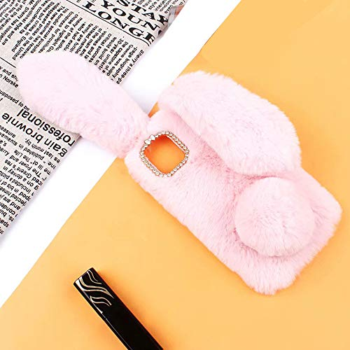 Omio for iPhone 11 Pro Rabbit Case Soft Fur Handmade Fluffy Furry Cute Bunny Plush Rabbit Cover Case Funny Warm Big Ears Bling Crystal Rhinestone Bowknot Ultra Light Shell for iPhone 11 Pro Case Pink