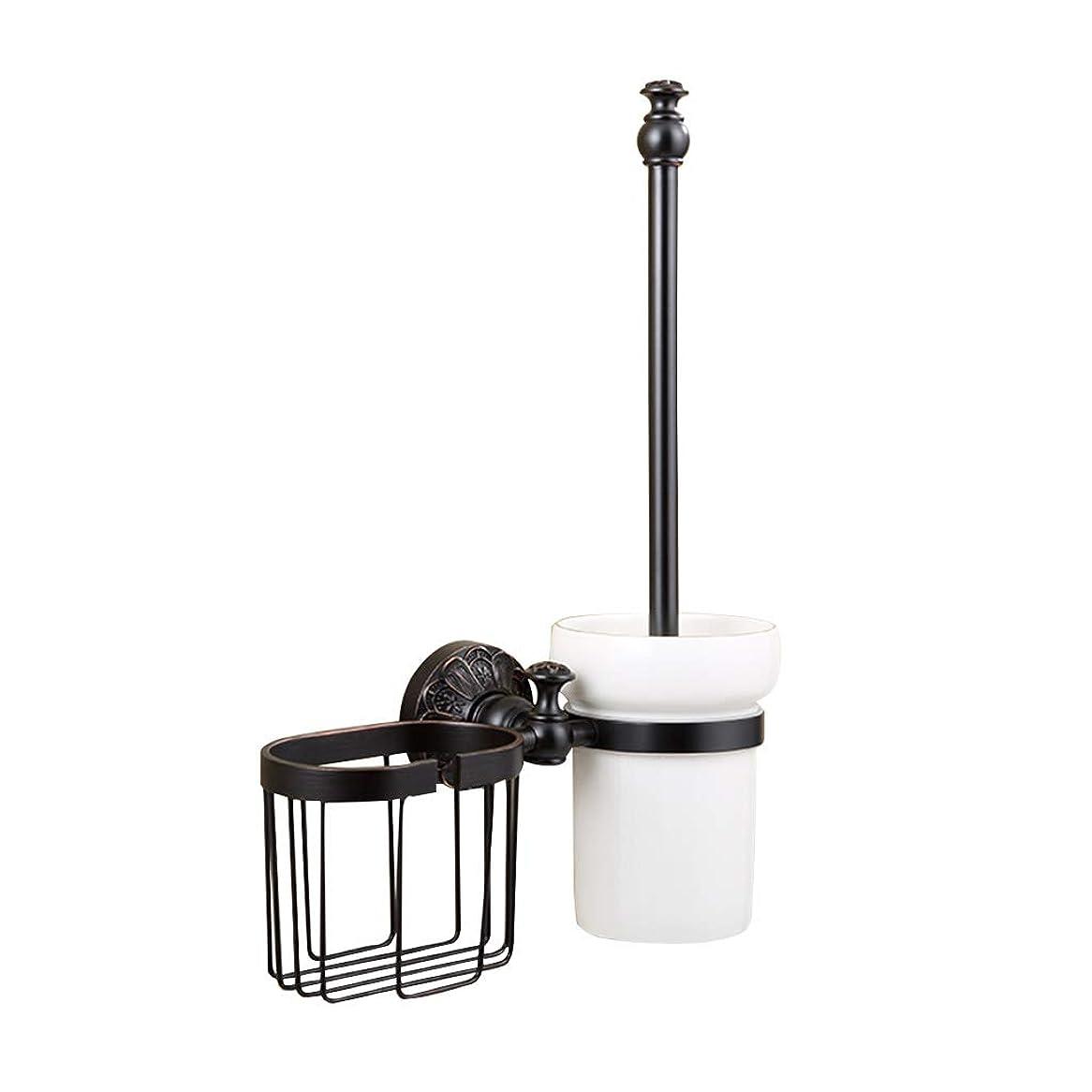 効率的冷笑する病院Fbwl トイレのブラシ トイレブラシとホルダー - 壁掛け式真鍮製家庭用トイレクリーニングセット、高さ25.5×38 cm (色 : ゴールド)
