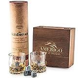 Deluxe Whisky Steine Geschenkset - Sei anders bei der Geschenkauswahl - Luxus Handgemachte Holzkiste mit 2 Whiskey Gläsern - 8 Granit Kühlsteine + Samtbeutel - Whisky Stones Gift Set - 11