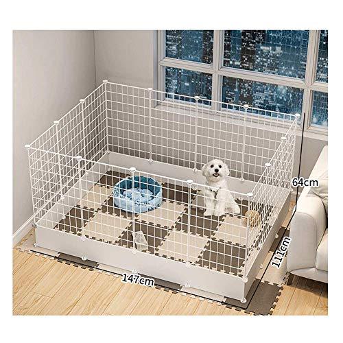GBY Haustierzaun, leicht zu zerlegender Katzen- und Hundezaun, Haustierisolationsgeländer, geeignet für den Innenbereich, weiß, 147 * 111 * 64 cm