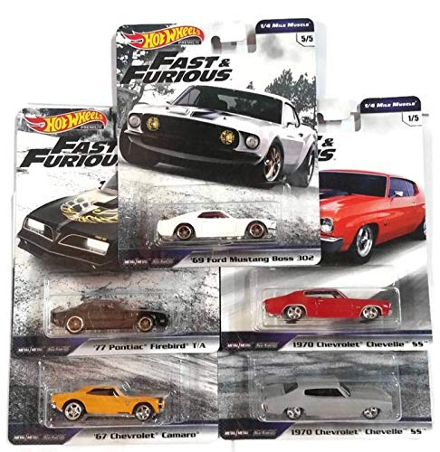 Hot Wheels Fast & Furious Premium 1/4 Mile Muscle Set 5 Modellautos 1:64 GBW75