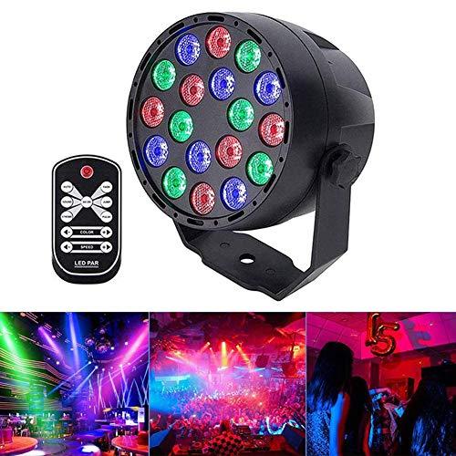 LED PAR Licht Disco Lichter Party Lichter 18LED Sound aktiviert DMX512 RGB 7 Beleuchtungsmodi Lichteffekt Partylicht Bühnenbeleuchtung mit Fernbedienungm, für Party Bar Geburtstag Karneval Disco