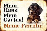 Schatzmix Mein Haus! Mein Garten! Meine Familie! Dackel Hund Metal Sign deko Schild Blech Garten thumbnail