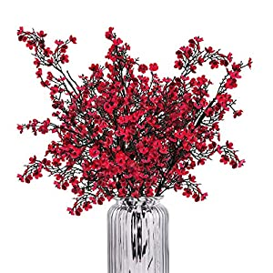 """Shiny Flower 6 Bundles 19.7"""" Baby Breath Gypsophila Artificial Flowers Real Touch Silk Fake Baby Breath Bouquet Silica Blooms for Wedding Bridal Party DIY Home Floral Arrangement Decor (Red)"""