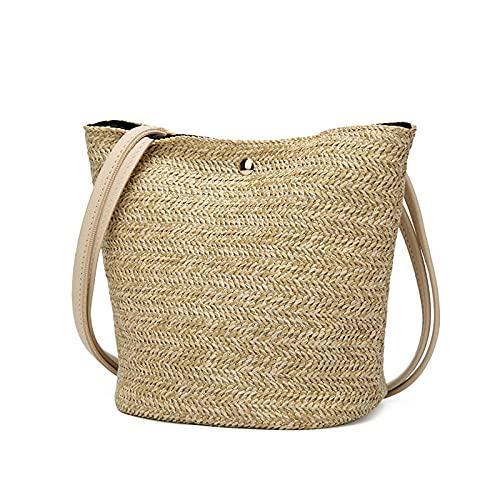 Bolsos de paja de moda de playa para mujer, popular bolso de viaje de verano para mujer, Mini bolso de hombro tejido para mujer, bolso trenzado informal, beige