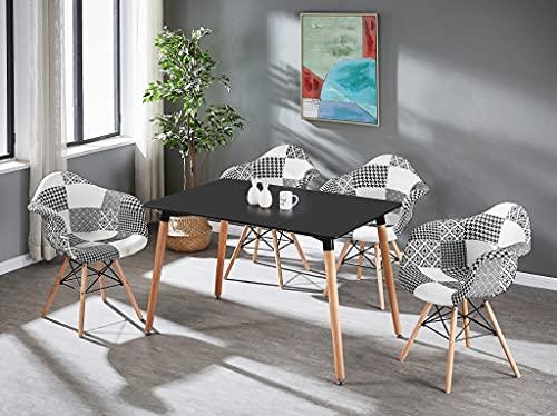 Life Interiors: Juego de 4 sillas y mesa de comedor con diseño de patchwork TUB | Juego de 4 sillas | Mesa moderna | Silla blanca y negra | Muebles modernos | Color de la mesa: (negro)
