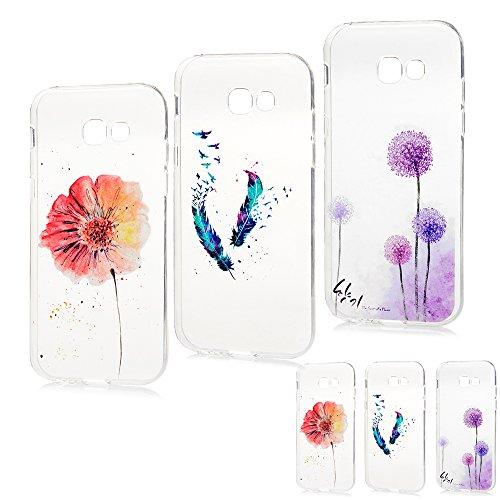 MAXFE.CO 3 x TPU Silikon Hülle für Samsung Galaxy A5 (2017) Handyhülle Schale Etui Protective Case Cover Rück mit Ultra Slim Skin Volltonfarbe Design Skin Farbe Löwenzahn + Feder + Blumen