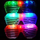 A Pack of 12 Pairs Party Bar Fun LED Light Up Slotted Shades Glasses- Assorted Colors