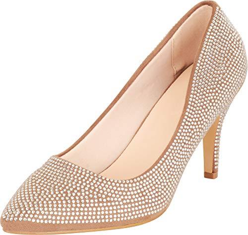 Cambridge Select Damen Slip On Spitze Zehen Kristall Strass Mid Heel Pumps, Braun (Taupe Imsu), 38 EU
