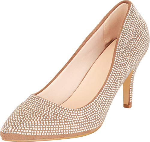 Cambridge Select Damen Slip On Spitze Zehen Kristall Strass Mid Heel Pumps, Braun (Taupe Imsu), 40.5 EU