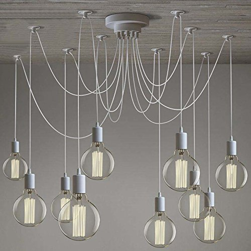 SUSUO Lighting Modern Chic Multi Pendant Chandelier Adjustable DIY Ceiling Spider Pendant Lighting (White)