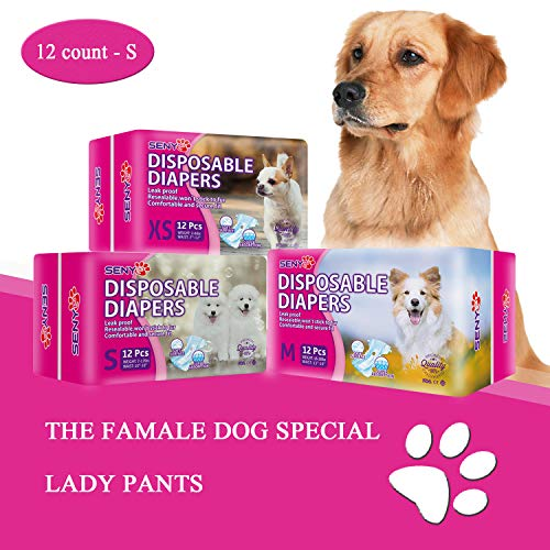 Freahap 10Pcs Disposable Dog Diapers Dog Wraps for Female Dogs in Heat Urination Incontinence Puppy Diapers L for 13-35 Lbs