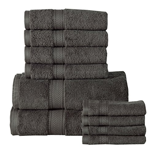 Affinity Home Collection CP10PCTWLST-GRY 10 Piece Casa Platino Soft and Luxurious Cotton 600 GSM Towel Set, Grey
