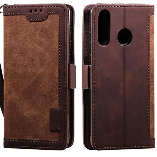 Hancda - Funda para Huawei Y7 2019, de piel, con cierre magnético y monedero, marrón
