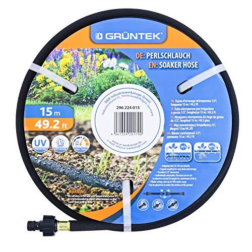 Tubo irrigazione a goccia e interrata GRÜNTEK. Tubo forato gocciolante 15m. Per irrigazione capillare giardino e terreni
