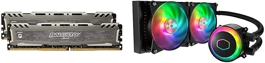 Crucial Ballistix Sport LT 3200 MHz DDR4 DRAM Desktop Gaming Memory Kit 16GB (8GBx2) CL16 BLS2K8G4D32AESBK and MasterLiquid ML240R Addressable RGB (MLX-D24M-A20PC-R1)