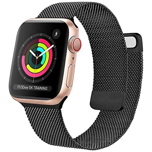 Oumida Cinturino Comapatibile per Apple Watch Cinturino 44mm 42mm 40mm 38mm, Morbido Metallo Cinturini per Apple Watch Iwatch Serie 6 5 4 3 2 1 SE, 2 Calamita Super (38/40mm Nero)