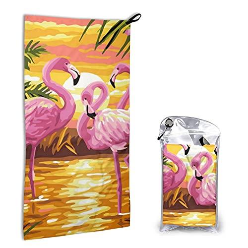 Toalla de Microfibra de Secado rápido, Toalla de baño de Playa súper Absorbente y Liviana para niños, Adolescentes, Adultos de 15.7 'x 31.5' ', Flamingo de Yellow River Sunset.