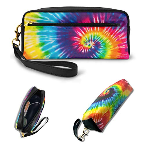 AHOOCUSTOM Cute 3D Spiral Tie Dye Pencil Case for Girls Boys Teens, Rainbow Gift Makeup Bag for Women, Office School Stationery Soft Faux Leather Zippers Portable Pouch