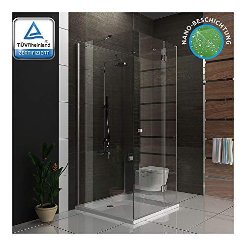 Duschkabine Duschabtrennung 100x100x195 cm / U-Duschkabine mit Glasveredelung / Badezimmer