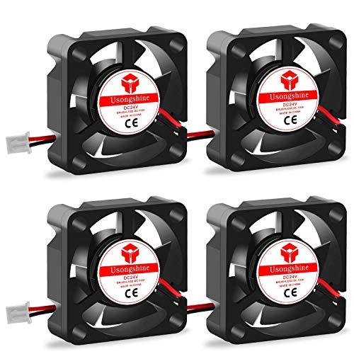 Usongshine Lüfter 3D Drucker Lüfter Lager Kühler Kühlung Ventilator 24V DC 2 Pin, 30 x 30 x 10 mm 3D Druckerzubehör (4 Stück mit Schrauben)