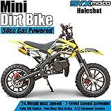 SYX MOTO Kids Mini Dirt Bike Gas Power 2-Stroke 50cc Motorcycle Holeshot Off Road Motorcycle Holeshot Pit Bike, Pull Start, Yellow