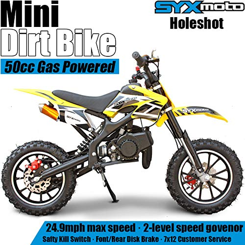 SYX MOTO Kids Mini Dirt Bike Gas Power 2-Stroke 50cc Motorcycle Holeshot Off Road Motorcycle Holeshot Pit Bike, Pull Start, Yellow