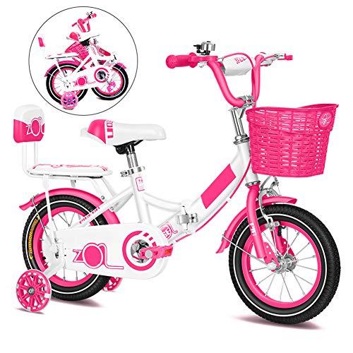Bici para Niños, Plegable Bicicletas Infantiles, Bike con Frenos y Ruedas de Entrenamiento, 12, 14, 16, 18 Pulgadas/Rosa / 18''