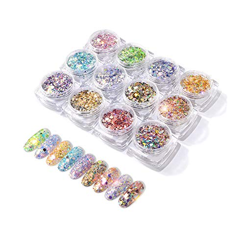 REAMTOP 12 Different 3D Nail Art Kit, DIY Glitter Cosmetic Size Mixing - for Nail Arts,Face, Body, Party, Festival Etc (Best Glitter Nail Polish Uk)