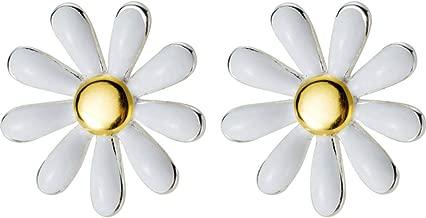 Mariafashion Flower Earring Stud, Sterling Silver Two-Tone White Daisy Flower Earrings Hypoallergenic Post Earrings for Women Girls Kids