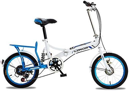TLMYDD Faltrad Erwachsene M er Und Frauen 20-Zoll-fürrad aus Kohlenstoffstahl, WeißBlau SchwarzWeißRot WeißWeißGrün (Farbe   Weiß and Blau)