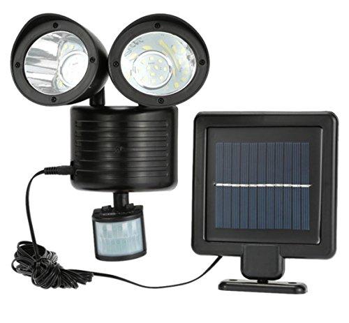 newnen 22LED Solar Luz de doble cabeza PIR Sensor de movimiento jardín Patio Foco de pared luz lámpara de seguridad giratorio resistente al agua energía Solar lámpara