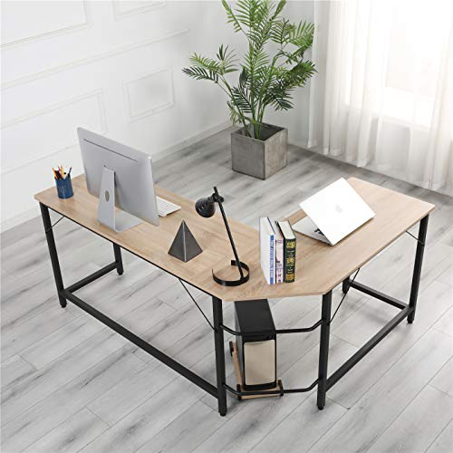 Molblly 55'' L Shaped Home Office Desk, Study Home Office Computer Table Desk Modern Simple Style PC Desk Home Office Desks Table Workstation with CPU Stand, Natural