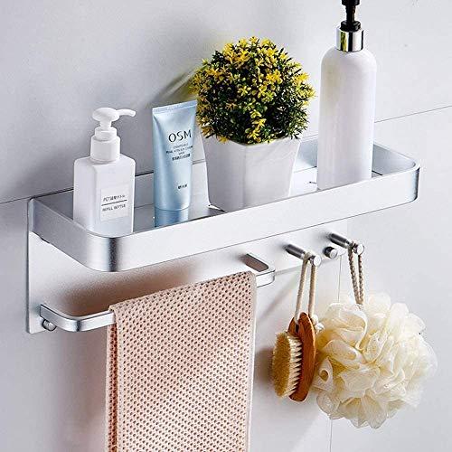 Towel rack Towel Bar Towel Rack 304 Stainless Steel Towel Holder Clothes Towel Hanger Space Aluminum Bathroom Wall Shelf Organizer Storage Shelf With Hooks Wall-mounted Shelfs Towel Bar(Color:Silver)