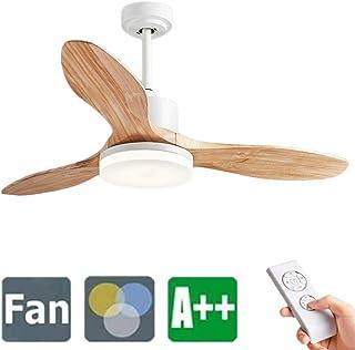 WRMING Ventilador de Techo Silencioso con LED Luz y Mando a Distancia, 3 Madera Aspas, 3 Velocidades, Temporizador 6 Horas, Motor AC 60W, Ø122 cm, 3000K-6000K,Wood