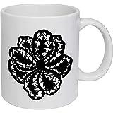 Tazza da caffè, tazza da tè, fiore stilizzato in ceramica tazza da viaggio regalo per donne e uomini