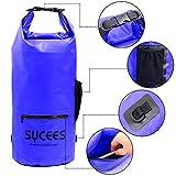 SYCEES Bolsas estancas impermeable 15L Azul con un bolsillo de cremallera impermeable y un bolsillo lateral de mallas y cinta doble adjustable para movil, ropa, llave para la playa, viaje