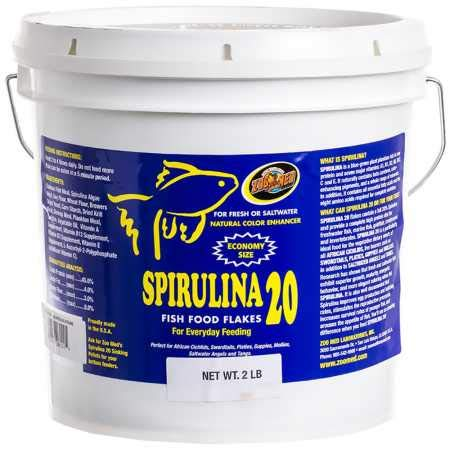 Zoo Med Spirulina 20 Fish Food Flakes (2 lb)