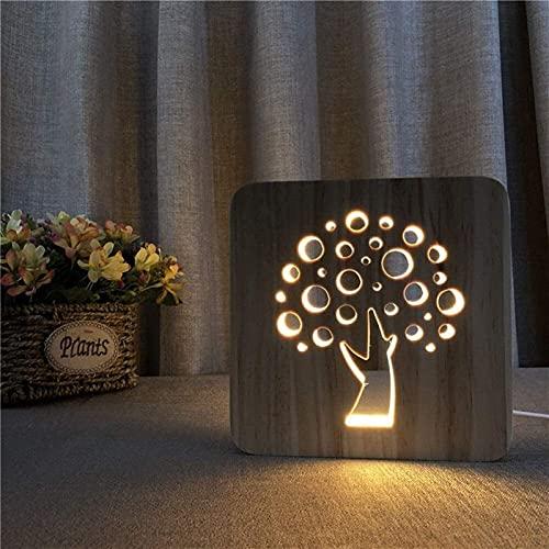CMMT Lámpara de escritorio Árbol de dibujos animados creativo decorativo LED lámpara de mesa de madera luz de noche 3D hueco USB dormitorio habitación de los niños cumpleaños 19 * 19 cm escritorio
