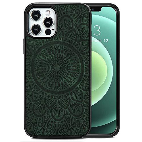 TANYO Étui en Cuir avec MagSafe pour iPhone 12 Pro Max (6.7 Pouces), Housse en Prime TPU/PU avec Fonction Magnétique MagSafe, Coque de Téléphone Antichoc en Silicone TPU - Vert
