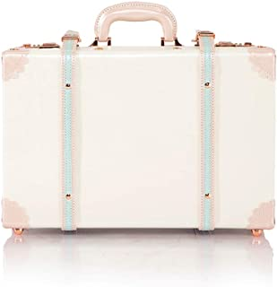 """COTRUNKAGE Large 18"""" Carry On Suitcase Cute Pu Leather Overnight Vintage Trunk Luggage Bag for Women (18"""", Cream White)"""