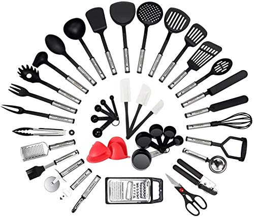 Kitchen Utensil Set - 42-Piece Cooking Utensils - Nylon and Stainless Steel Utensil set - Nonstick...