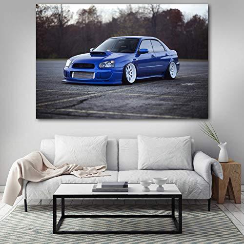 QAZEDC Dekorative Malerei Poster und Drucke WRX STI Blau Tuning Auto Weiß Auto Wandkunst Bild Leinwand Kunst Malerei Für Home Room Decor