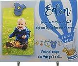 Cadre Photo Naissance - Cadeau de Naissance personnalisé avec le prénom du bébé – idéal pour la liste de naissance – pour fille ou garçon – Kd-iG