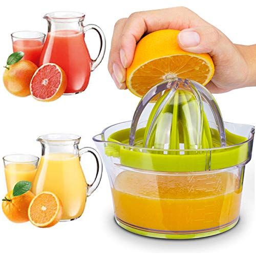 HUADADA Zitronenpresse Zitronenpresse Manuelle mit Behälter 400ml 4 in 1 Spülmaschinenfest Plastik BPA-frei Anti-Tropf Filter Mechanismus
