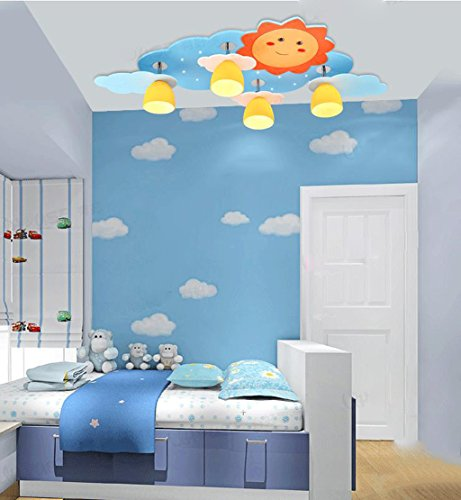 Lily's-uk Love Sun Modélisation Salle des enfants LED Plafonnier Kindergarten Bedroom Lights Cute Cartoon protection oculaire