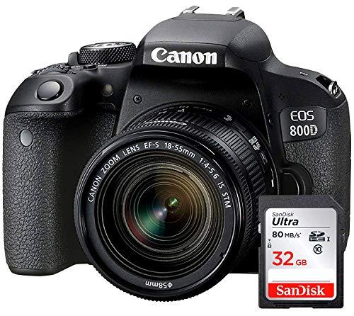 Canon EOS 800D - Fotocamera Digitale Reflex + Obiettivo EF-S 18-55 mm f 4-5.6 IS STM - Nero